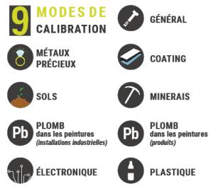 9 modes de calibration : métaux précieux, sols, plomb, électronique, général, coating, minerais, plastique